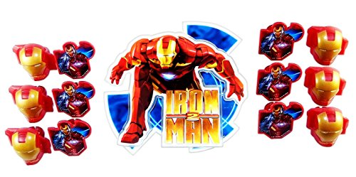Marvel Iron Man 2 Birthday Party Pack - Lay-on Topper with 12 Cupcake Rings.