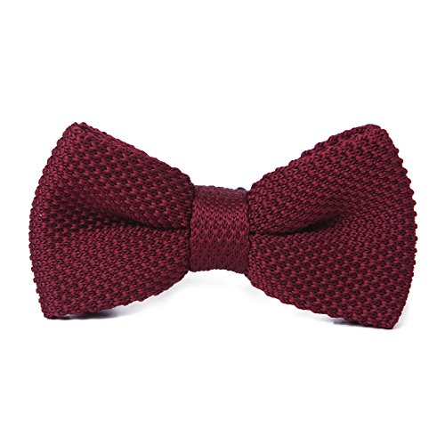 HDE Mens Pre-tied Bowtie Vintage Fashion Adjustable Woven Waffle Knit Bow Tie (Burgundy) (Trendy Bow Ties compare prices)