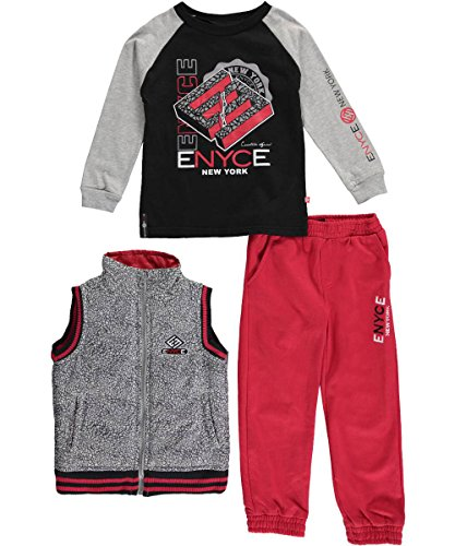 "Enyce Little Boys' Toddler ""Cracked Stone"" 3-Piece Outfit - black/red, 4t"