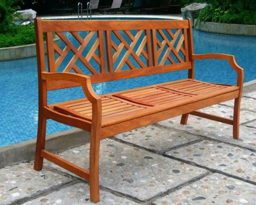 VIFAH V188 Outdoor Wood Bench, Natural Wood Finish, 23 by 61 by 37-Inch
