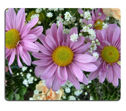 Pink Daisies With Baby'S Breath Flowers Colorful Nature Beauty Mouse Pads Customized Made To Order Support Ready 9 7/8 Inch (250Mm) X 7 7/8 Inch (200Mm) X 1/16 Inch (2Mm) High Quality Eco Friendly Cloth With Neoprene Rubber Liil Mouse Pad Desktop Mousepad front-628402