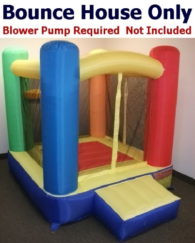 "Bounce House Only - My Bouncer Little Square Castle Bounce 72"" L X 72"" W X 72"" H Ball Pit Popper W/ Built-In Balls Hoops (Blower Pump Not Included)"