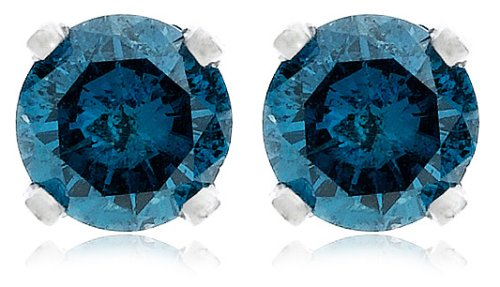Blue Diamond Stud Earrings White Gold Round