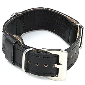 StrapsCo Black Nato Zulu Military Style Leather Watch Band size 24mm