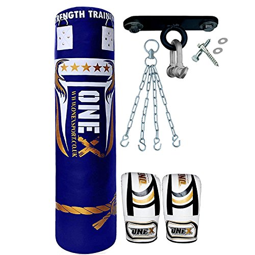 onex-9-pieces-heavy-filled-boxing-set-4ft-punch-bag-gloves-ceiling-hook-chain-mma-punching-training-