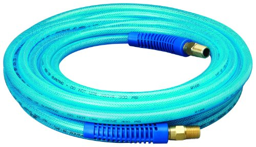Amflo 12-25E Blue 300 PSI Polyurethane Air Hose 1/4″ x 25′ With 1/4″ MNPT Swivel Ends And Bend Restrictor Fittings