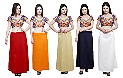 Pistaa combo of Women's Pure Cotton Maroon, Orange, Beige, Navy Blue and Off White Color Best Ethinic Daily Wear Inskirt Saree petticoats