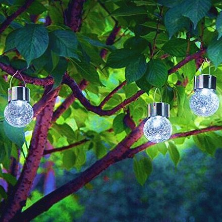 Crackle Glass Globe Solar Lights With Hanger