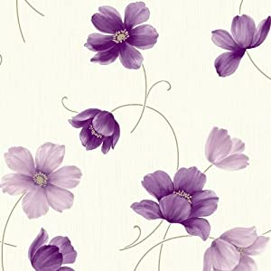 Plum Purple Cream 860703 Layla Floral Arthouse