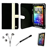 Black White Canvas Jacket Portfolio Cover Carrying Protective Case for HTC Flyer 3G WiFi HotSpot GPS 5MP 16GB Android OS AD2P 7 Inch Tablet Device + Includes a eBigValue (TM) Determination Hand Strap + Includes a Crystal Clear High Quality HD Noise Filter Ear buds Earphones Headphones ( 3.5mm Jack ) + Includes a Anti Glare Screen Protector