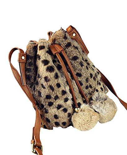 (リグリ) LIGLI 巾着バッグ ショルダーバッグ レディース アニマル柄 レオパード ファーバッグ ポンポン付き レオパード フリーサイズ