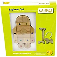 WIDU Magnetic Wooden Building Blocks Explorer Set 21 Piece