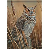 Great Horned Owl Wildlife Garden Flag Fall Double Sided Mini Banner 13