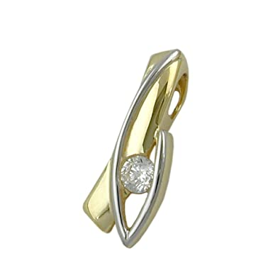 Pendant with cubic zirconia, bicolor, 9 Carat Gold