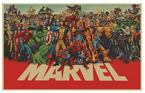 アメコミ ヒーローズ MARVEL HEROS レトロ ポスター 60×95cm インテリア