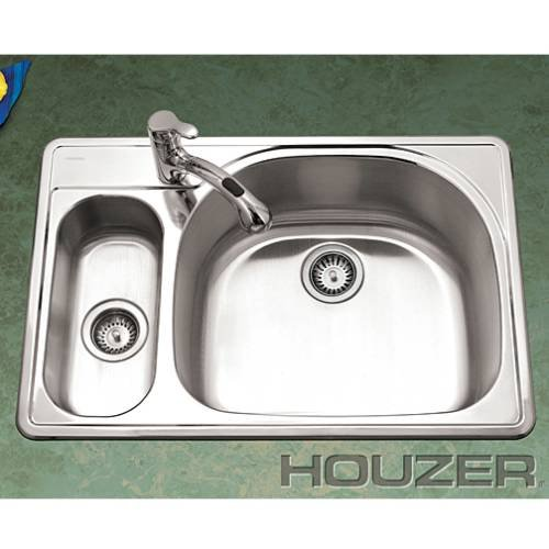 Houzer RMG-3322SL-1 Premiere Reflection 33-by-22-Inch 80/20 Double Bowl Drop-In Stainless Steel Kitchen Sink, Left Side Prep Sink