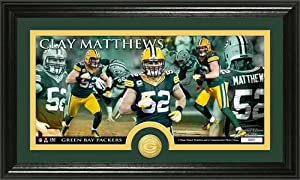 Green Bay Packers Clay Matthews Bronze Coin Panoramic Photo Mint by Highland Mint