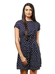 Mayra Women's Crepe Dress (1604D19309_L Navy Blue )