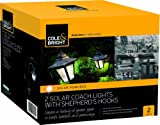 Pack of 2 solar garden coach light lanterns with hooks