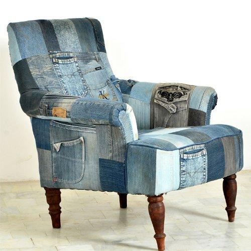 SalesFever Sessel Indigo Patchwork Jeans klein