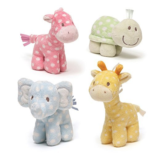 Gund Lolly & Friends Plush Giraffe Elephant Turtle Horse Rattle - 1