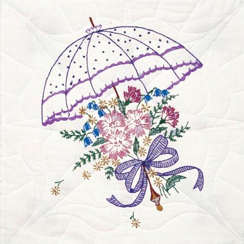 Fairway 92106 Quilt Blocks, Flower Umbrella Design, White, 6 Blocks Per Set