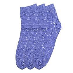 HANS Executive melange Ankle length socks for men (Pack of 3) (a3blu_blue)