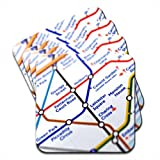 Close Up Tube Map Leicester Square, London Set Of 4 Premium Wooden Coasters