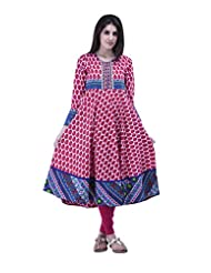 Aarr Round Neck Long Sleeve Printed Anarkali Kurta For Women