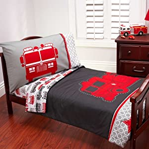 Carter 39 s 4 piece toddler bed set fire truck baby for Fire truck bedroom ideas