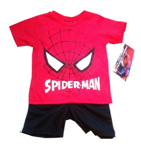 SPIDERMAN - Spider-Man Face - Adorable Red / Black 2 Piece Toddler / Small Youth Set