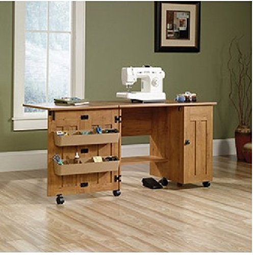 This Sewing And Craft Table With Drop Leaf Table And Shelves And Storage Is Made In Usa. back-871039