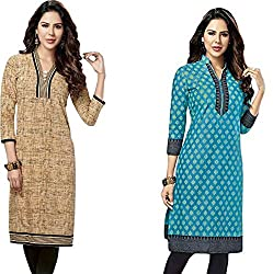 SDM Women's Kurti Printed Cotton Dress Material Unstitched Combo of 2 (123-127 ,Unstitched)