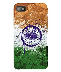 Fuson 3D Printed India Flag Designer Back Case Cover for Blackberry Z10 - D609