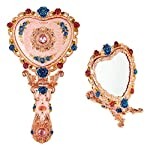 Ivenf Heart Shape Royal Vintage Princess Mirror, Hand-Painted Metal Handheld Mirror, Pink
