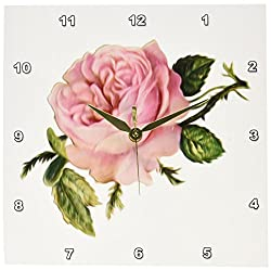 3dRose dpp_104602_1 Lovely Victorian Vintage Rose Floral Digital Oil Painting Wall Clock, 10 by 10-Inch, Pink