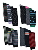 Mens Pattern, Stripe Dress Socks, 12 Pairs, Size 10-13