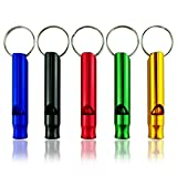 GTI 5 pcs Hiking Camping Aluminum Emergency Whistles Signal Survival Whistle with Keychain, Blue/Black/Red/Green/Orange, Small