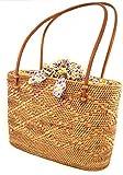 【バリコレ!!】アタ製ショルダーバッグアタで編まれたかごバッグかわいい巾着付アタバッグパープル