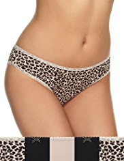 5 Pack Cotton Rich Animal Print Brazilian Knickers
