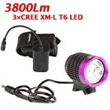 TrustFire Super Bright 3 X CREE XM-L T6 4 Modes 3800 lumensWhite LED Bike Lamp, Cree LED Solid Bicycle Light and Powerful Bike Light Lamp with 8.4V 6400mAh Battery Pack and US Plug Charger Set For Outdoor Hiking, Riding, Camping and Other Activites