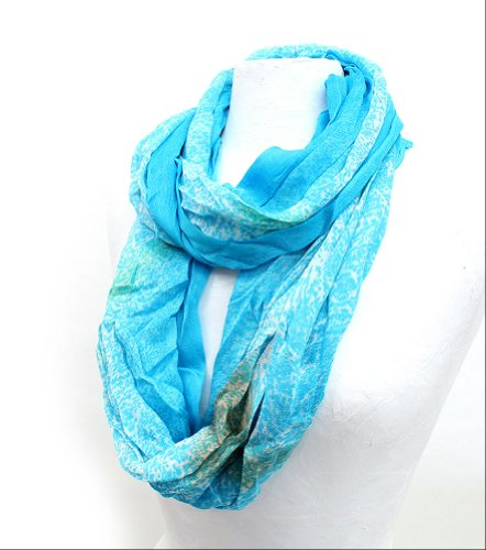 Bright Color Animal Zebra Print Infinity Scarf (Sky Blue)