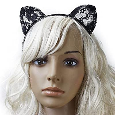 Goege Sexy Cute Hairband Black Lace Cat Ears Headband for Xmas Masquerade Party Cosplay Costume Accessory