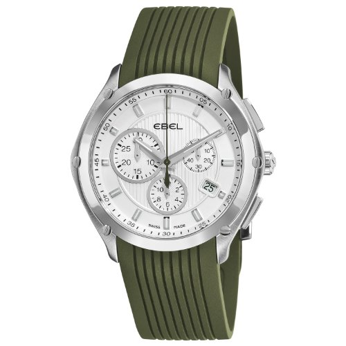 Ebel Men's 9503Q51/1633561 Classic Sport Silver Dial and Green Rubber Strap Watch