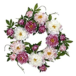 Nearly Natural 4788 Peony Wreath, 22-Inch, Pink