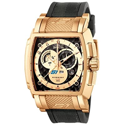 Invicta Men's 6217 S1 Collection GMT 18k Rose Gold-Plated Black Rubber and Fabric Watch