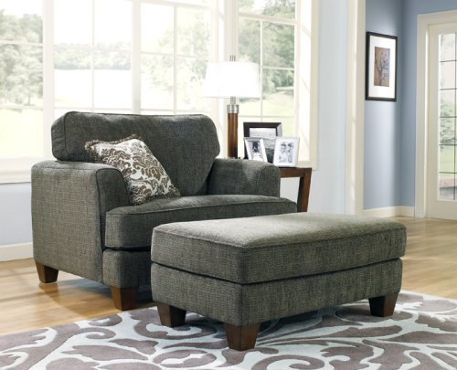 2 PCs Contemporary Design Upholstery Chair and Ottoman Set
