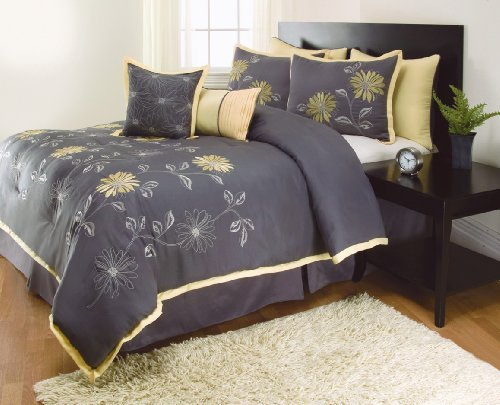 Buy 8 Pieces RENEE Sunshine Yellow Grey Comforter Sunflower Bed-in-a-bag Set QUEEN Size Bedding+Accent Pillows