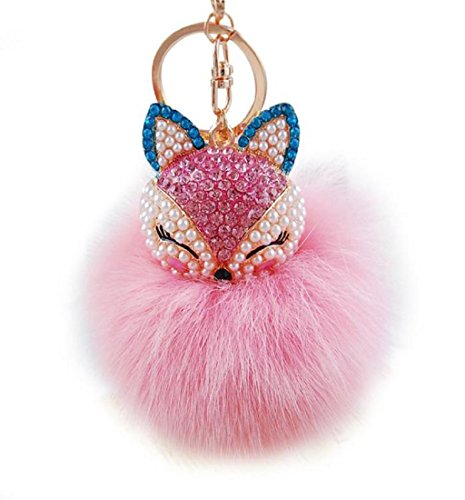 keychains-mikey-store-fox-fur-ball-with-artificial-fox-head-inlay-pearl-rhinestone-key-chainpink