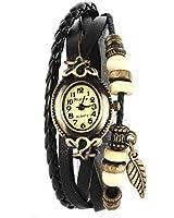 YESURPRISE Montre quartz Vintage Avec pendentif Feuille Knitted Bracelet en cuir Noir